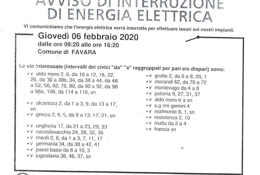 Avviso Sospensione Energia Elettrica per il 6 febbraio 2020